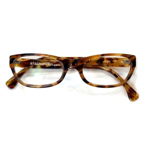 Alain Milki 2692 Vintage light honey tortoise cello cateye eyeglasses frame 90s NOS handmade in France
