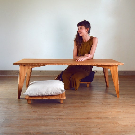 floor cushions Mid-Century Bamboo LOW Coffee Table Set 3-Piece: 2 Pillow Lifts Scandinavian Inspired | Dining |Desk |Study |Work |Craft