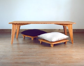 LOW Coffee Table Set Bamboo: With Pillow Lifts (floor seat for cushion)   Mid-Century, Japanese Inspired   Dining  Desk  Study  Work  Craft
