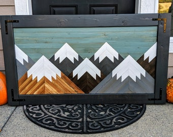 Handmade Wooden Mountain Art with Black Frame and Corner Hardware