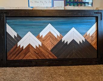 Handmade Wooden Mountain Art with Blue Sky, Black Frame, and Corner Hardware