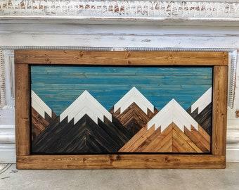 Handmade Wooden Mountain Art with Light Brown Frame
