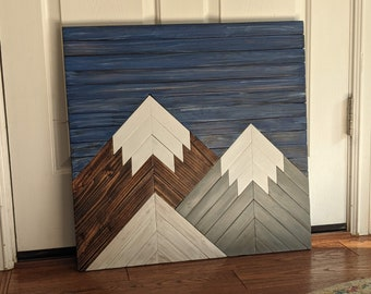 Edgy Wooden Mountain Wall Art