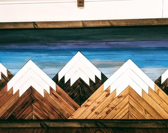 Handmade Wooden Twilight Mountain Art with Thin Brown Frame
