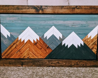 Handmade Wooden Mountain Art with Blue Sky and Brown Frame