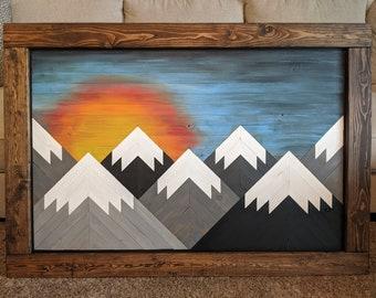 Handmade Wooden Sunset/Sunrise Mountain Art Tall with Frame