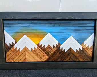 Handmade Wooden Sunset Mountain Art with Black Frame