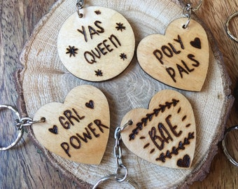 5f648c44d Hand Burned Feminist Feminism Yas Queen Keyring, Girl Power Wooden Heart  Pyrography Keyring, Femme Gift, Personalised Gift