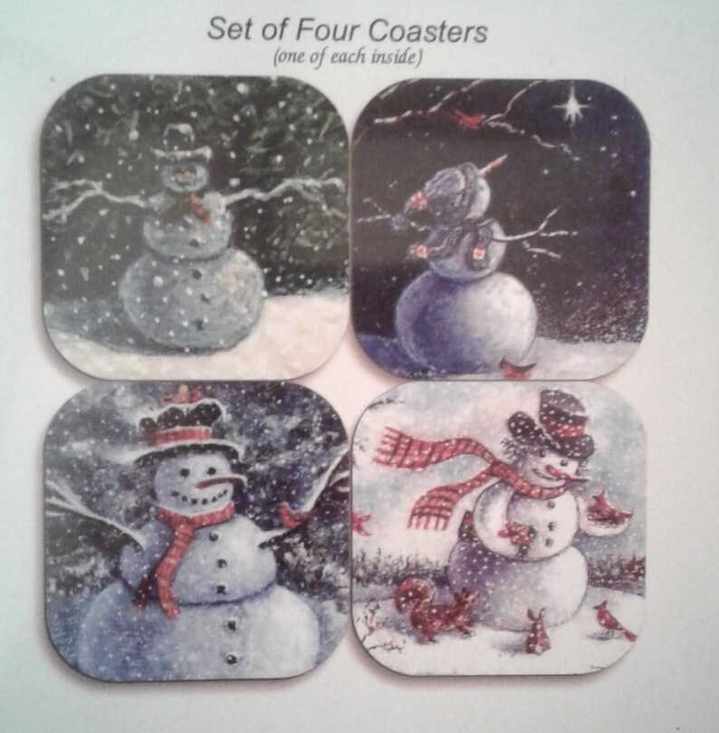 Snowman coasters by noted Artist & Innkeeper Tom F. image 1