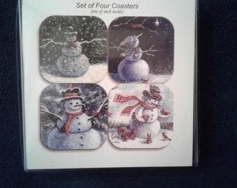 Snowman coasters by noted Artist & Innkeeper, Tom F. Hermansader