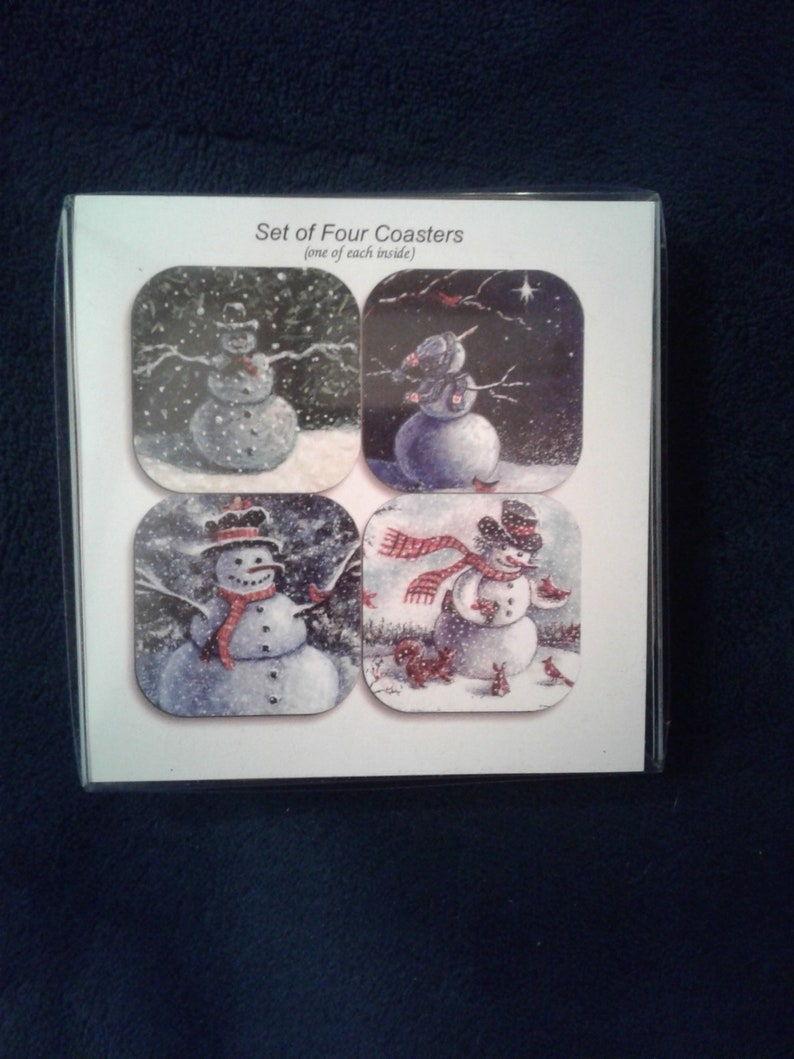 Snowman coasters by noted Artist & Innkeeper Tom F. image 0