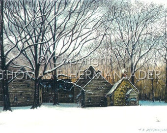 Ephrata Cloister in Winter 'ARTIST'S PROOF PRINT' by Tom F. Hermansader