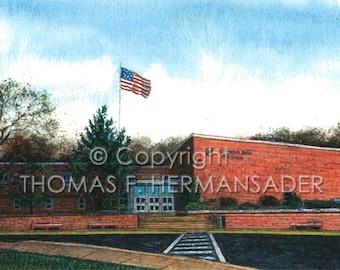 Columbia Jr.-Sr. High School 'ARTIST'S PROOF PRINT' painted by Tom F. Hermansader (www.hermansadersartgallery.com)ansader