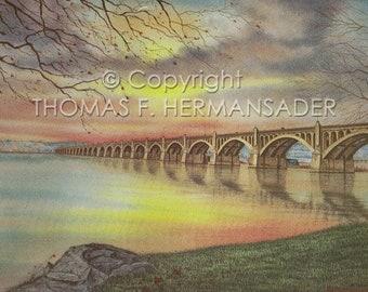 "Veteran's Memorial Bridge ""ARTIST'S PROOF PRINT' painted by Tom F. Hermansader (hermansadersartgallery.com) columbiabandb.com"