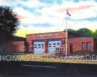 Lancaster Fire Station No. 3 'ARTIST'S PROOF PRINT' painted by Tom F. Hermansader