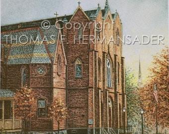 Historic Saint Mary's Catholic Church 'ARTIST'S PROOF PRINT' painted by Tom F. Hermansader (www.hermansadersartgallery.com)