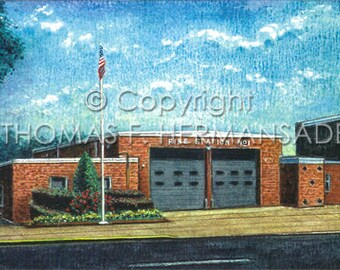 Lancaster Fire Station No. 1 'ARTIST'S PROOF PRINT' painted by Tom F. Hermansader