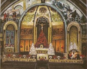 St. Anthony's Catholic Church Altar 'ORIGINAL WATERCOLOR' painted by Tom F. Hermansader (www.hermansadersartgallery.com)