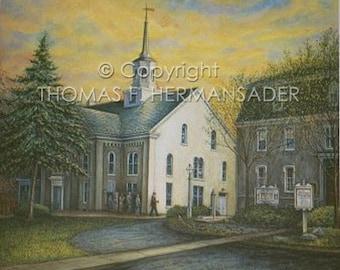 Lititiz Moravian Church ARTIST PROOF by noted artist, Tom F. Hermansader