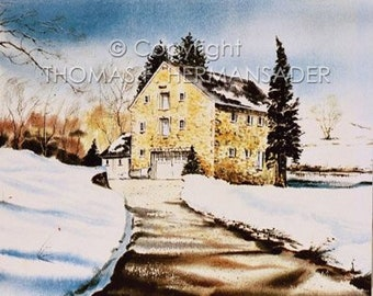 Gring's Mill 'ARTIST'S PROOF PRINT' painted by Tom F. Hermansader
