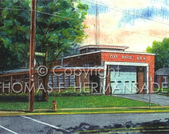 Lancaster Fire Station 'No. 6' 'ARTIST'S PROOF PRINT' painted by Tom F. Hermanader