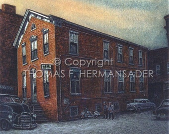 Lancaster Police Station (Grant Street) ARTIST PROOF PRINT by noted artist, Tom F. Hermansader