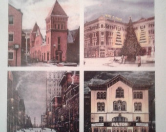 Lancaster, PA - Coasters (4) - Central Market, Fulton Opera House, Queen St., Penn Square by noted Artist & Innkeeper, T. F. Hermansader