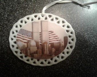 Twin Towers - 9/11 - Emblem of Strength - New York City - Christmas ornament by noted Artist and Innkeeper, Tom F. Hermansader
