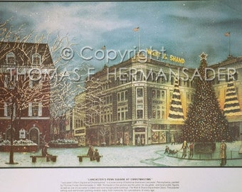Penn Square in Lancaster Poster by noted artist, Tom F. Hermansader