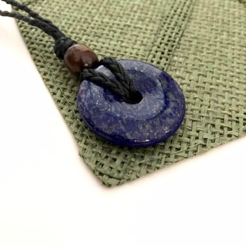 Lapis Lazuli Donut Crystal Stone Pendant Macrame Necklace Adjustable Handmade