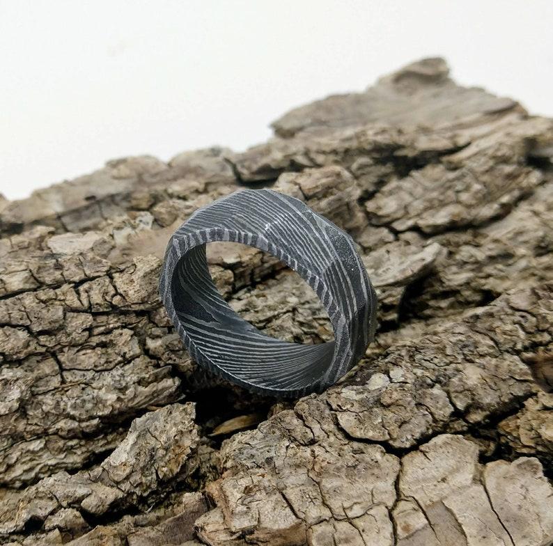 Handmade Damascus Steel Ring Men/'s WeddingEngagement Band Obsidian finish