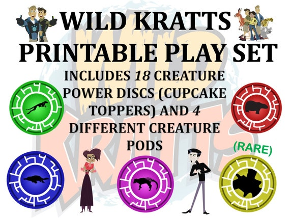 photo regarding Wild Kratts Creature Power Discs Printable known as Printable Perform mounted, Wild Kratts, Creature Electricity Discs (Cupcake Toppers, and *4* Creature Pods. Instant Obtain.