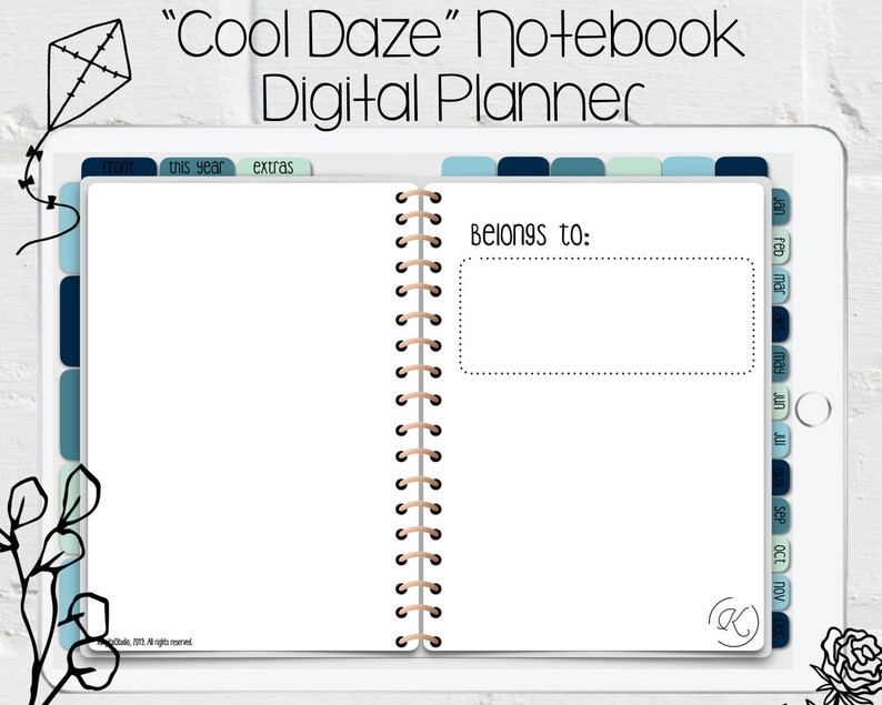 Digital (Undated) Open Book/Notebook Style Planner in