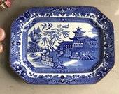 Vintage Blue and White Plate - Burslem - Burleigh Ware - Willow Pattern - Rectangular Platter - Transferware meat platter