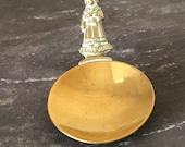 Vintage brass caddy measuring spoon Jenny Jones as the handle Kitchenalia Afternoon tea