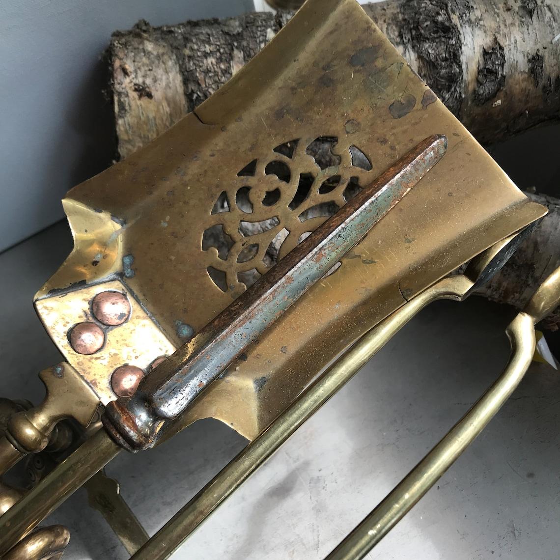 Vintage companion set, Hearth tool set, Poker Dustpan Tongs, Fireplace tools set, Fire accessories, Home decor