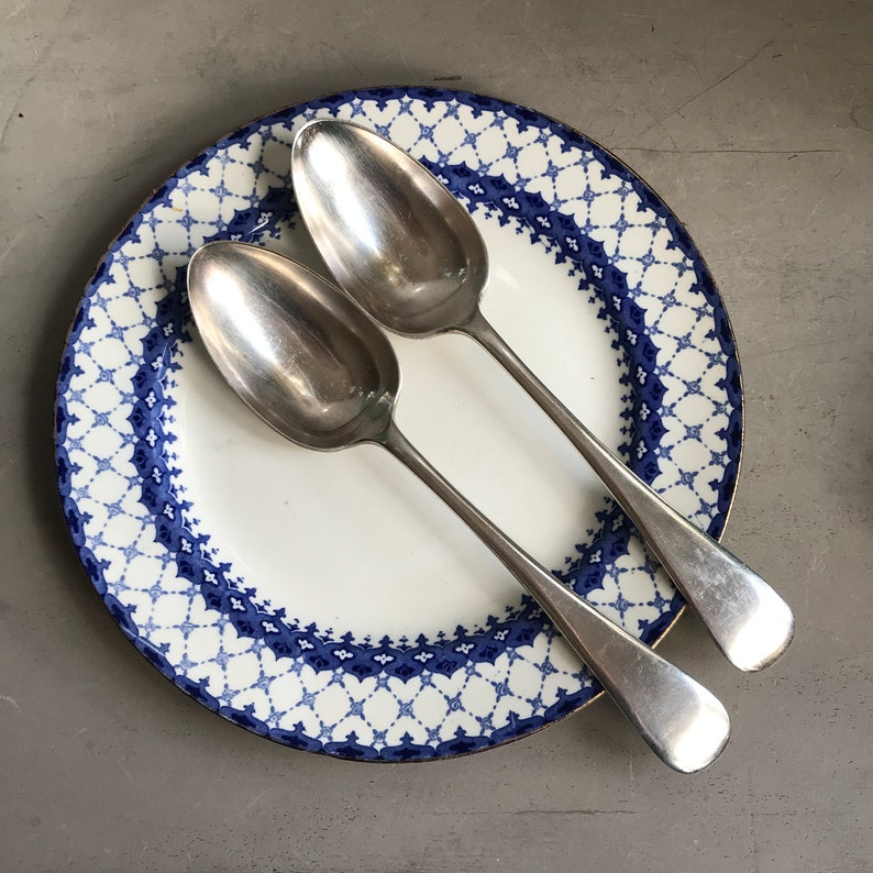 Old English Pattern. Antique Britannia Plate pair of tablespoons Jonathan Bell Made in Sheffield