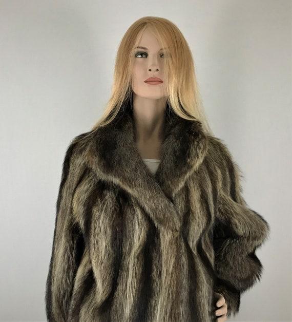 Genuine fur ladies coat fur coat raccoon fur coat
