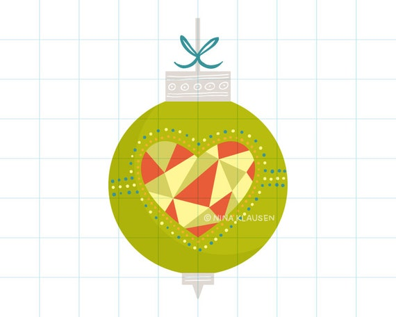 Heart Christmas bauble clip art illustration - C0016