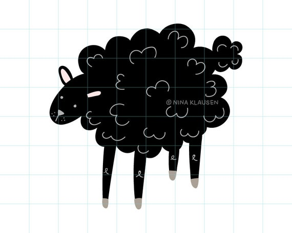 Black sheep clip art illustration - C0009