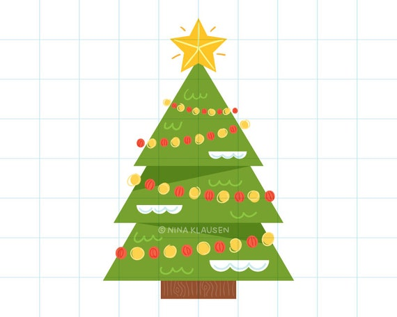Christmas tree clip art illustration - C0014