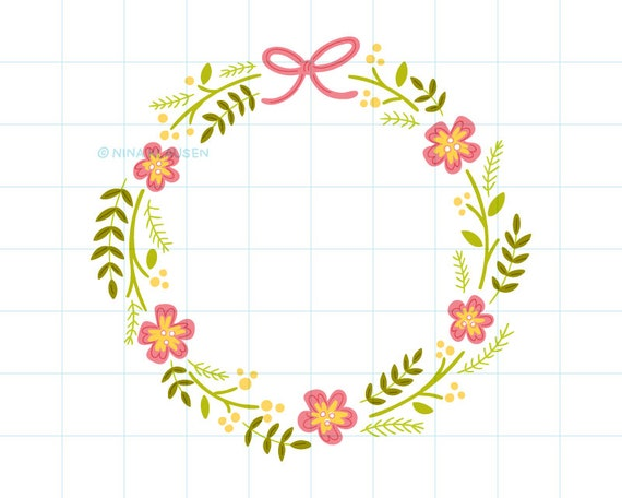 Summer flower wreath clip art illustration - C0005