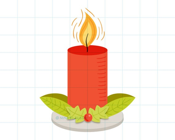 Red Christmas candle clip art illustration - C0059