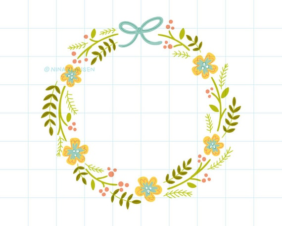 Spring flower wreath clip art illustration - C0004