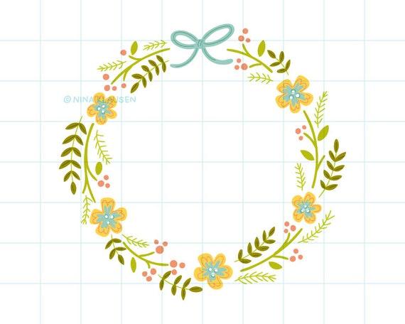 Spring flower wreath clip art illustration - C0004