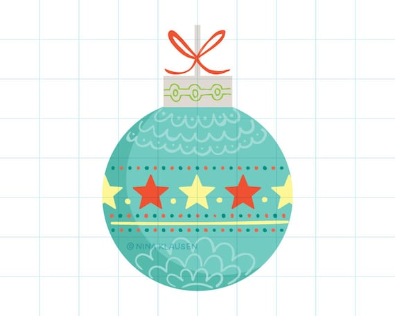 Turquoise Christmas bauble clip art illustration - C0056