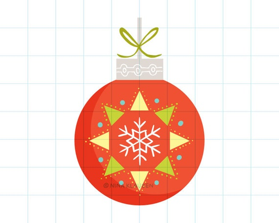 Snowflake Christmas bauble clip art illustration - C0055