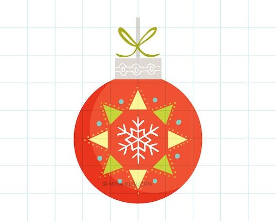 Snowflake Christmas bauble clip art illustration - C0055