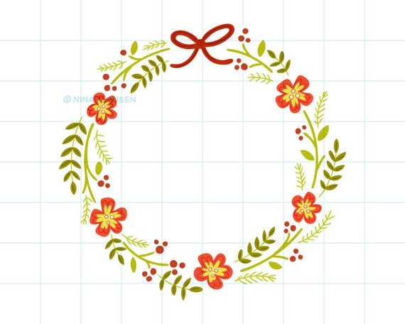 Christmas wreath clip art illustration - C0057