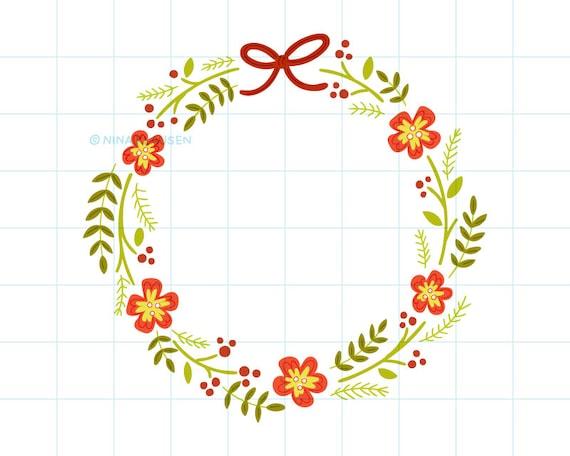Christmas wreath clip art illustration - C0057